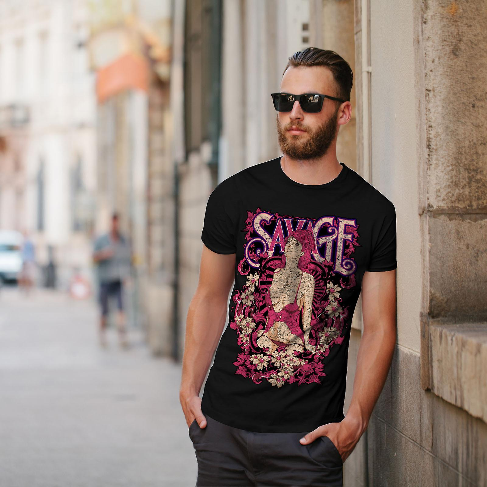 Savage Girl Flower BlackT-chemise homme | Wellcoda