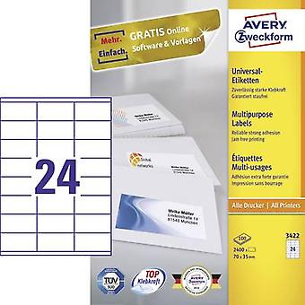 Avery-Zweckform 3422 Labels (A4) 70 x 35 mm Paper White 2400 pc(s) Permanent All-purpose labels Inkjet, Laser, Copier