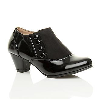 Ajvani mujeres bajas mid botones talón zip inteligente trabajo tobillo zapatos botas botines