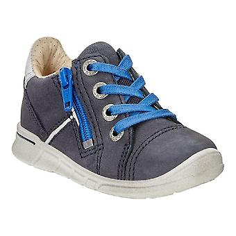 Ecco First Marine Faded Blue Leather Lightweight Shoes With Flexible Sole