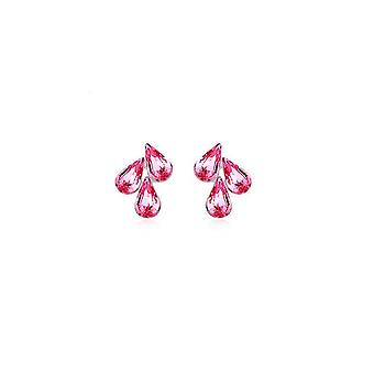 Roze Womens sieraden Set bloem blad hanger Stud Earrings Stud Earrings