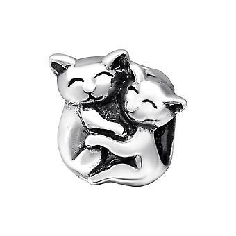 Paar kat - 925 Sterling Zilver platte parels - W28218X