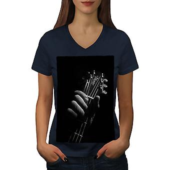 Art Music Guitar Women NavyV-Neck T-shirt | Wellcoda