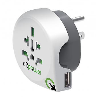 Q2power grounded travel adaptor, US into the EU, 16A, white