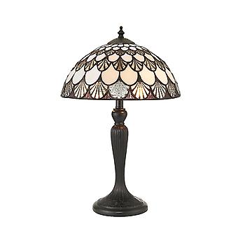 Interieurs 1900 Missori 2 lichte kleine tafellamp In Pewter Finish