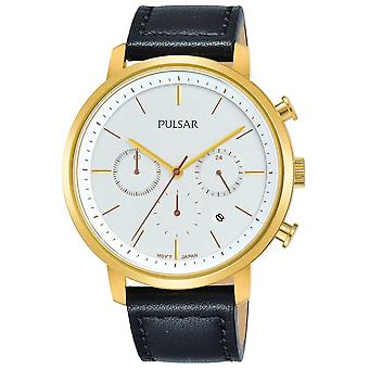 Pulsar Mens Gold Plated Case Black Leather Strap Dated Chronograph PT3938X1 Watch