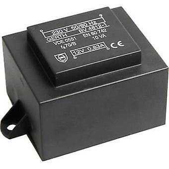 PCB mount transformer 1 x 230 V 2 x 24 V AC 10 VA 208 mA