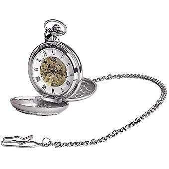 Woodford Flying Scot Chrome Plated Double Full Hunter Skeleton Pocket Watch - Silver