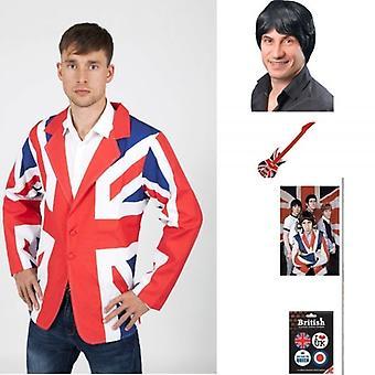 Union Jack Wear Pete Townsend Kit, Jacket, 60's Wig & Guitar