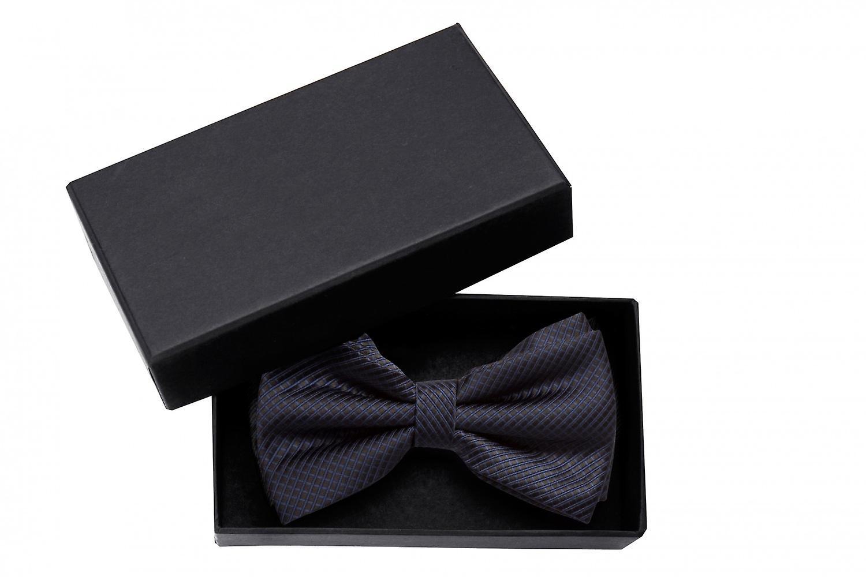 Fly black, checkered dark blue loop Fabio Farini Plaid bow tie