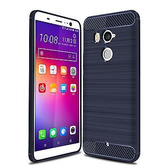 HTC U11 + TPU cas optique de fibre de carbone brossé bleu boîtier protecteur