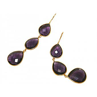 Violet earrings - 925 Silver - gold plated - Amethyst - - purple - dripping - 9 cm
