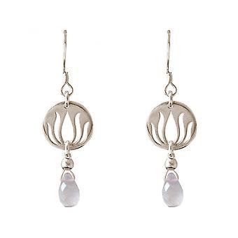 Por goteo Lotus Flower - cuarzo rosa - Damas - Pendientes - plata 925 - Rosa - YOGA - 3,5 cm