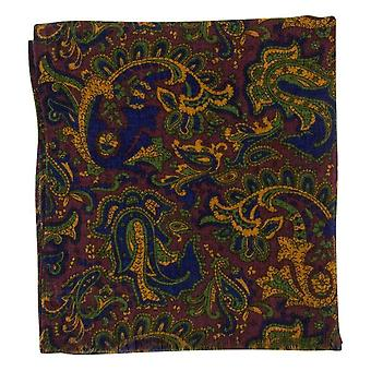 40 Colori Ancient Paisley Printed Wool and Silk Scarf - Burgundy