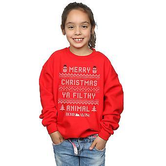Nach Hause alleine Mädchen schmutzig Tier stricken Style Sweatshirt