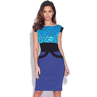 Two Tone Blue Lace Bodycon Dress