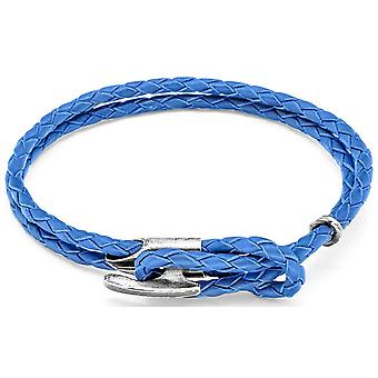 Anchor and Crew Padstow Silver and Leather Bracelet - Royal Blue