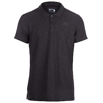 Men's adidas Essential 3Stripe Polo Shirt In Charcoal Black