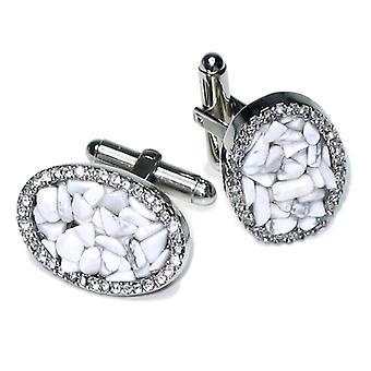 Silver-Tone CuffLinks Elliptic Stones Men's Cuff Links