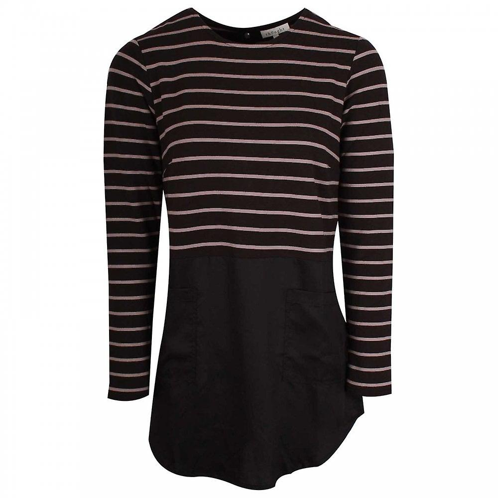 Thought Stripped Tunic Style Long Sleeve Top