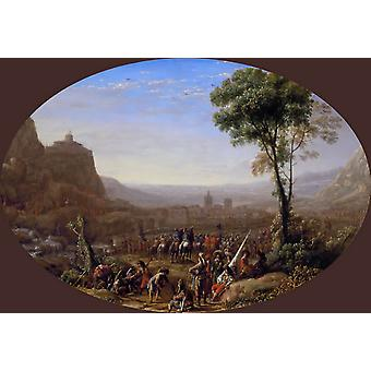 Le Pas de Suze force pair of Louis XIII, Claude Lorrain, 40x60cm with tray