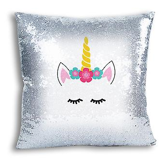 i-Tronixs - Unicorn Printed Design Silver Sequin Cushion / Pillow Cover for Home Decor - 0