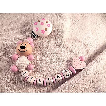 Pacifier holder in wood Design No 1 with the text