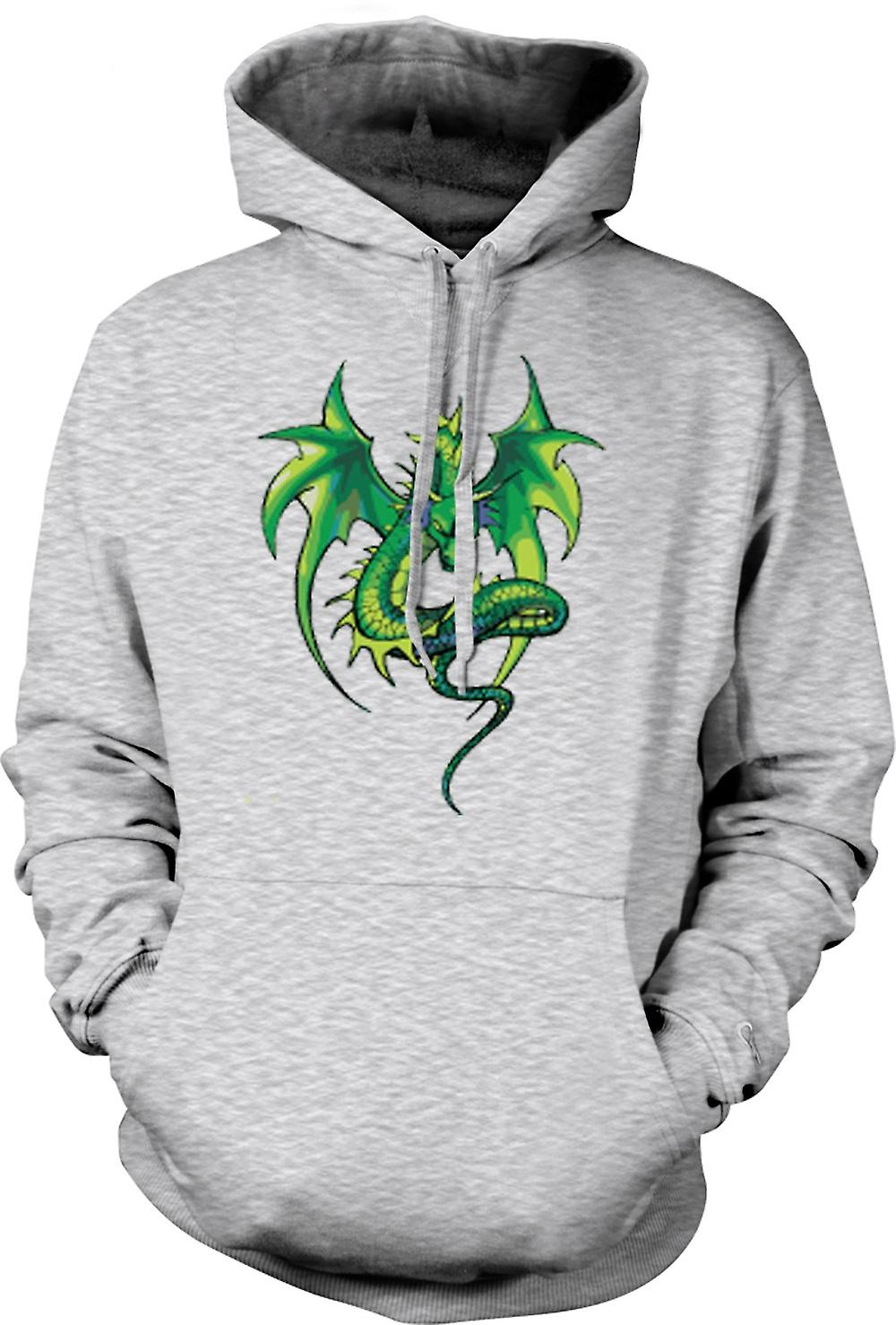 Mens Hoodie - Green Dragon Comic-Design