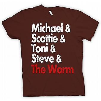 Mens T-shirt-Michael Scottie Tonie Steve und der Wurm