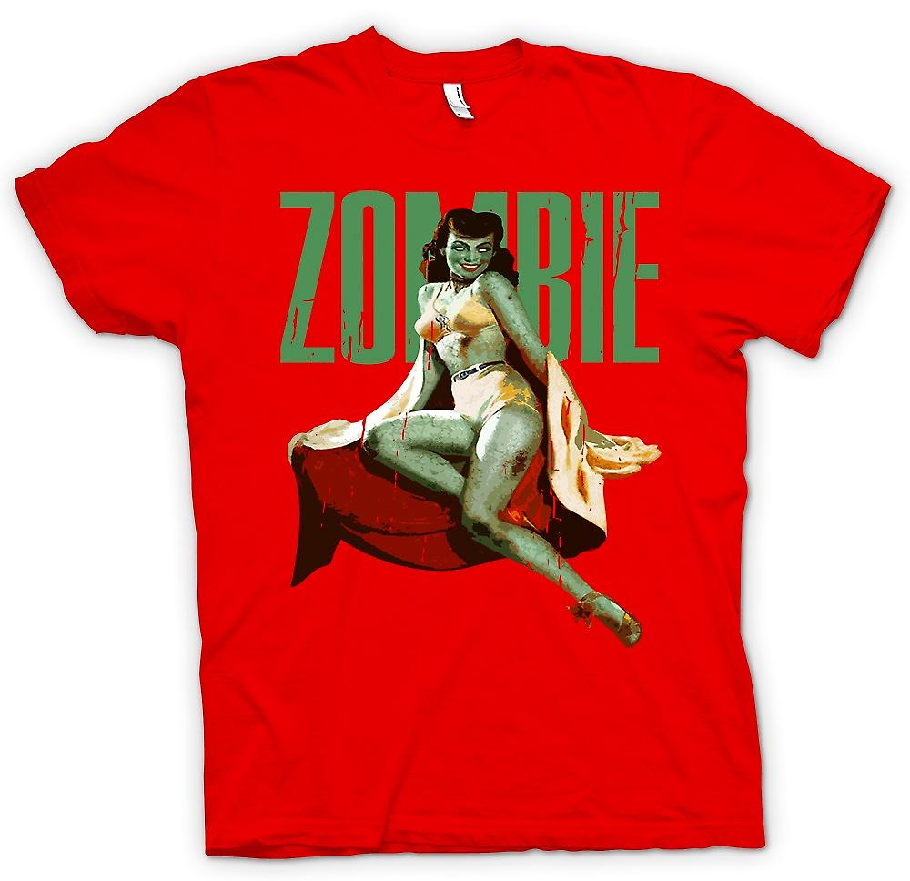 Mens T-shirt - Vintage Zombie Pin Up - grüne Lady