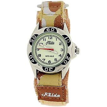 Relda Nite-Glo Luminous Dial Beige Camouflage Army Easy Fasten Boys Watch REL66