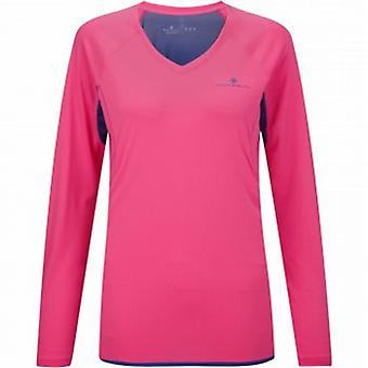 Vizion Long Sleeve Running Tee Shirt Fluo Pink/Wildberry Womens