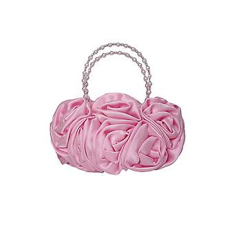 Pink Satin Ruffle Rose Flower Girls Handbag