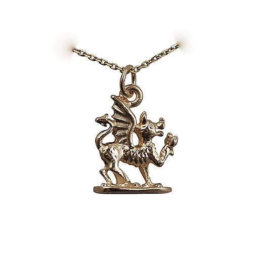 9ct Gold 18x15mm Welsh Dragon Pendant with a cable Chain 16 inches Only Suitable for Children
