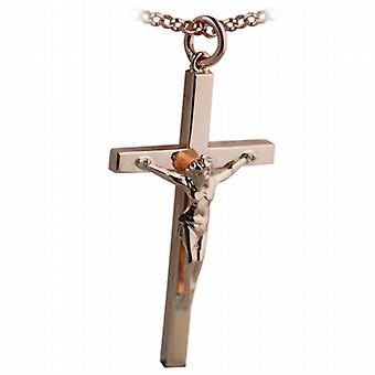 9ct Rose Gold 40x24mm solid block Crucifix Cross with belcher Chain 16 inches Only Suitable for Children