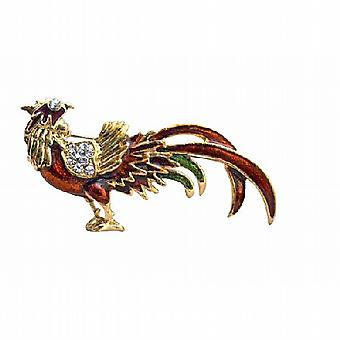 Stunning Animal Red Rooster Gold Plated Brooch with Cubic Zircon