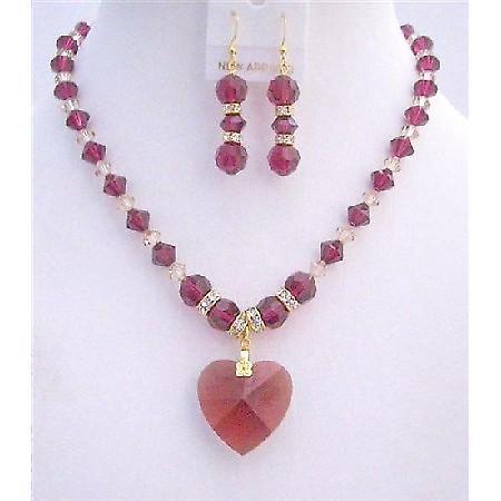 Ruby Swarovski Golden Shaodow Swarovski Ruby Crystals Heart Necklace