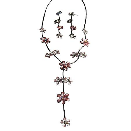 Affordable Pink Enamel Jewelry Set Necklace & Earrings