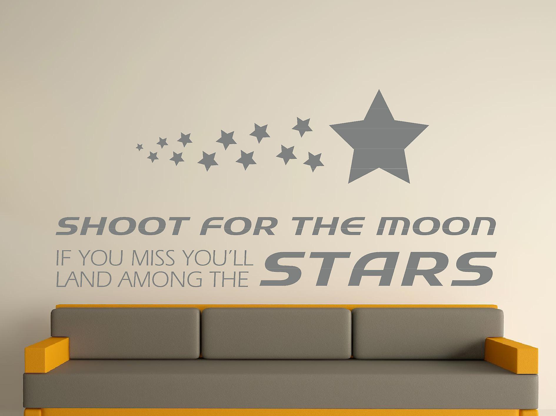 Shoot For The Moon Wall Art Sticker -  Grey