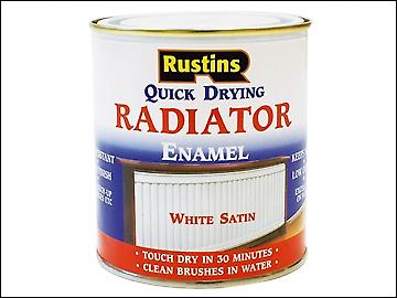 Rustins Quick Dry Radiator Enamel Paint Satin White 250ml