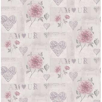 Bloemenbehang liefde harten muzikale noten lila roze plakken muur zilver metallic