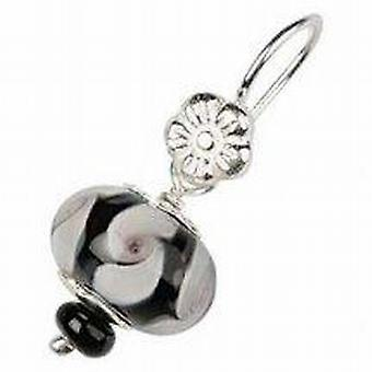 Toc Beadz Sterling Silver Black and White Swirl Glass Bead Drop Earrings
