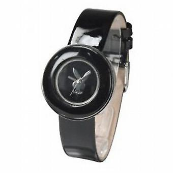 Playboy Black Leather Strap Ladies Designer Fashion Watch PB0270BK