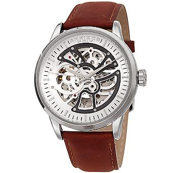 Akribos XXIV Men's Automatic Layered Dial Leather Strap Watch AK1018SSBR