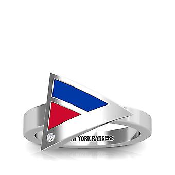 New York Rangers New York Rangers Engraved Diamond Geometric Ring In Blue And Red