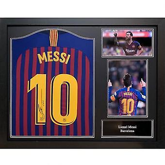 Barcelona Messi firmado camisa (enmarcada)