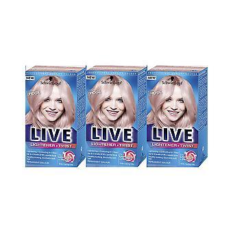 Schwarzkopf Live Lightener & amp; Twist 101 cool Rose haarkleur kleurstof 3 voor 2 pack