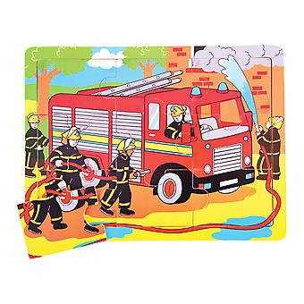 Bigjigs Toys Wooden Chunky Tray Puzzle Fire Engine Jigsaw Educational Play