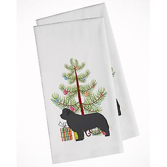 Newfoundland Merry Christmas Tree White Kitchen Towel Set of 2