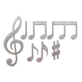 Metal cut music notes - largest piece 16x6in